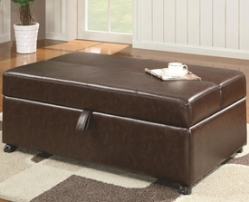 Brown Upholstered Bench with Fold Out Sleeper & Casters