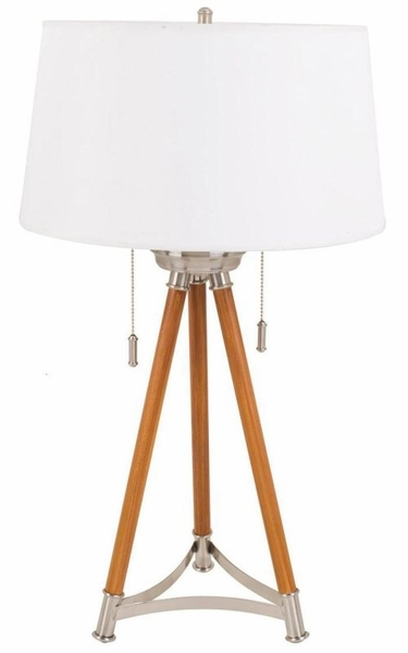 Brushed steel and wood finish Base Table Lamp