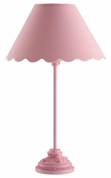 Bubble Gum Pink Table Lamp with Scalloped Shade