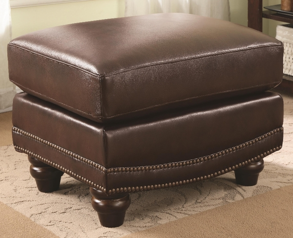 Burgundy Brown Leather Upholstered Ottoman