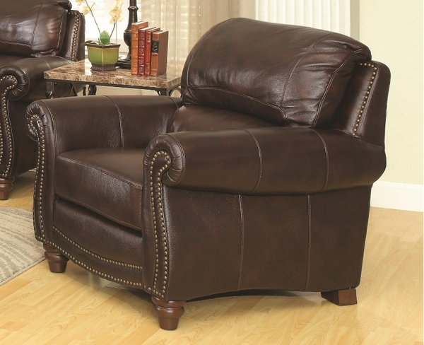 Burgundy Brown Leather Upholstered Chair