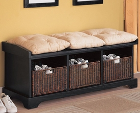 Button Tufted Cushions on Black Storage Bench with Baskets
