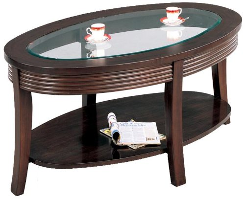 Cappuccino Finish Coffee Table with Glass Top
