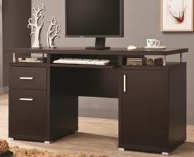 Cappuccino Finish Computer Desk with 2 Drawers & Cabinet