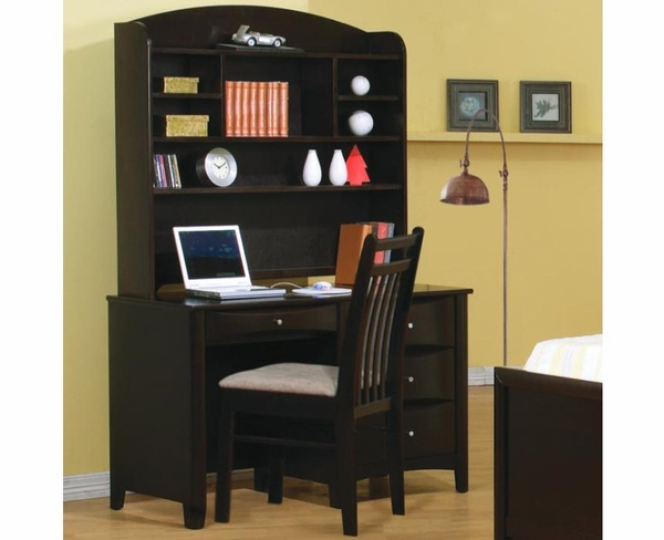 Deep Cappuccino Finish Computer Desk with Hutch