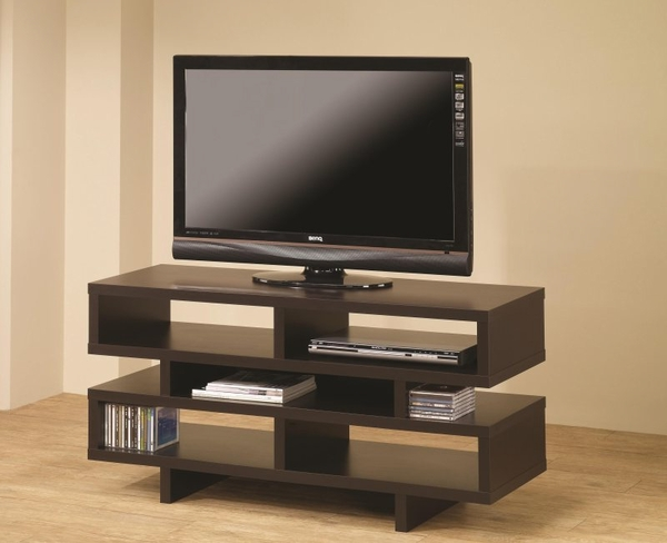 Cappuccino Finish TV Console with Open Storage