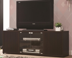 Cappuccino Finish TV Console with Push-to-Open Glass Doors