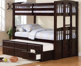 Cappuccino Finish Twin Over Twin Bunk Bed with Trundle Understorage