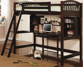 Cappuccino Finish Twin Workstation Loft Bunk