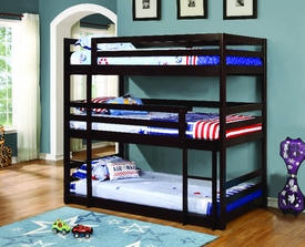 Cappuccino Finish Triple Twin Bunk Bed