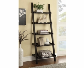 Cappuccino Ladder Bookcase with 5 Shelves