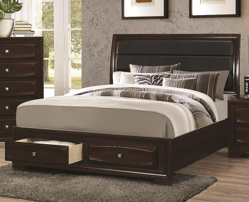 Cappuccino Queen Bed With Padded Headboard By Coaster