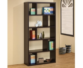 Cappuccino Wide and Narrow Compartments Bookshelf