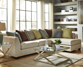 Casheral Linen Sectional with Multi Color Accent Pillow # 82901