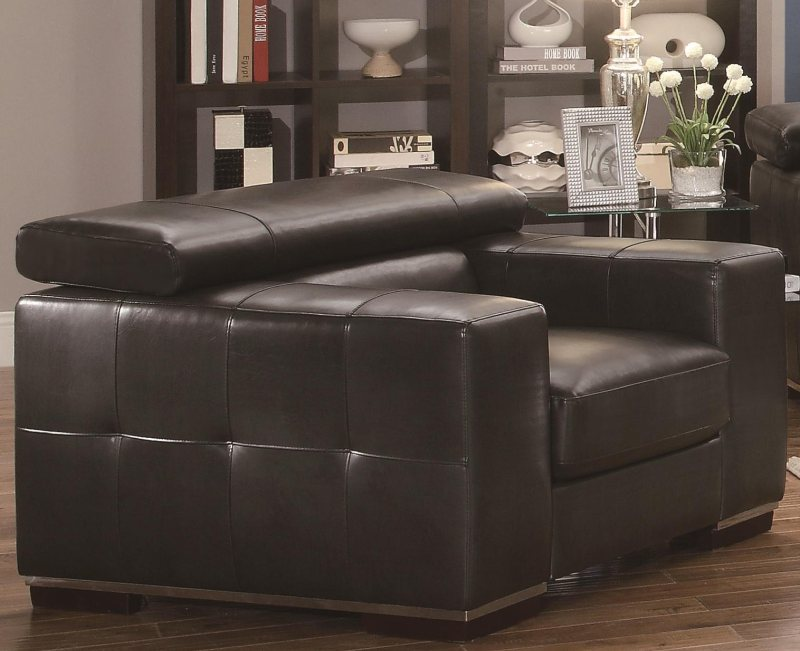 Charcoal bonded leather ratchet backs sectional with for Bonded leather sectional sofa with chaise