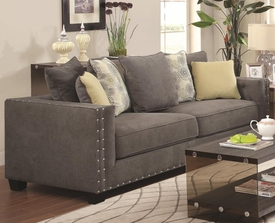 Charcoal Sofa with Nailhead Trim