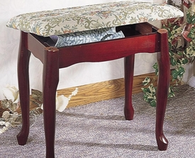Cherry Finish Upholstered Vanity Stool Bench with Lift Top Storage