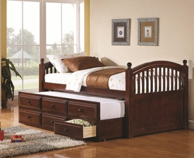 Cherry Wood Finish Daybed with Trundle and Storage Drawers