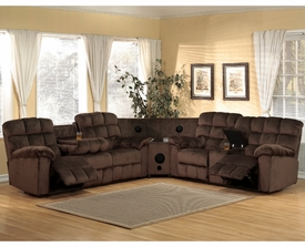 Chocolate Padded Velvet Motion Sectional # P-7200SEC