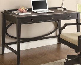 Contemporary Black Table Desk with Three Drawers