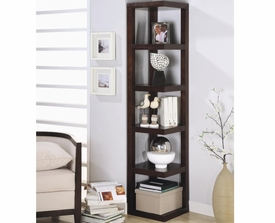 Cappuccino Finish Corner Bookcase