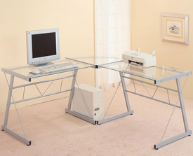 "Contemporary Metal ""L"" Shaped Desk with Glass Top"