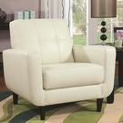Cream Accent Chair with Round Wood Legs