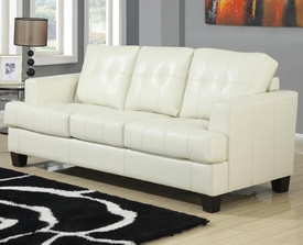 Cream Bonded Leather Sleeper Sofa