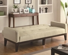 Cream Tufted Sofa Bed with Track Arms