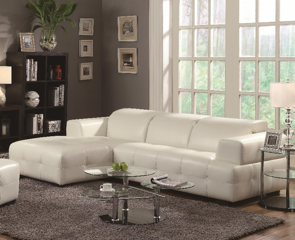 Darby White Leather Sectional Sofa # 503617