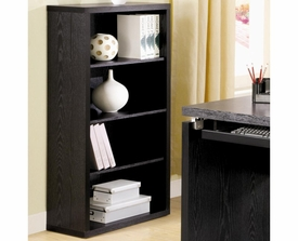 Dark Black Finish Bookcase with 4 Shelves