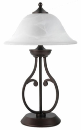 Dark Bronze Base Table Lamp with Glass Shade