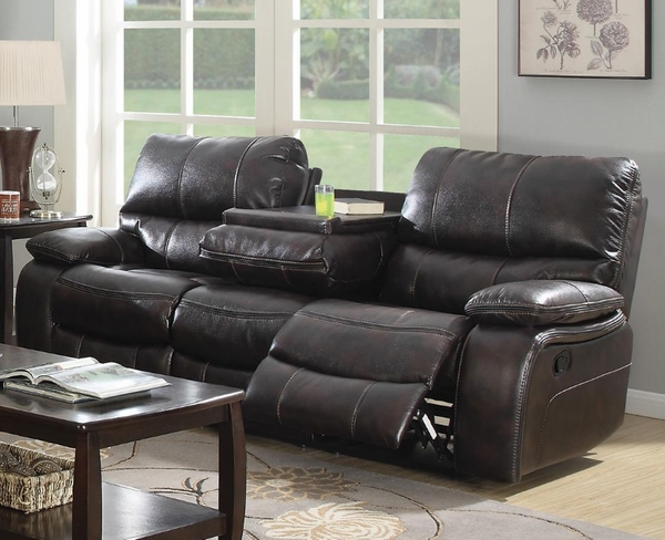 Dark Brown Bonded Leather Upholstered Reclining Motion Sofa