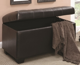 Dark Brown Button-Tufted Storage Ottoman