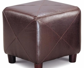 Dark Brown Faux Leather Cube Ottoman