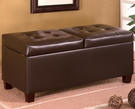 Dark Brown Faux Leather Rectangular Storage Ottoman with Hinged Top