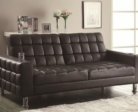 Dark Brown Vinyl Adjustable Sofa Bed with Cup Holders