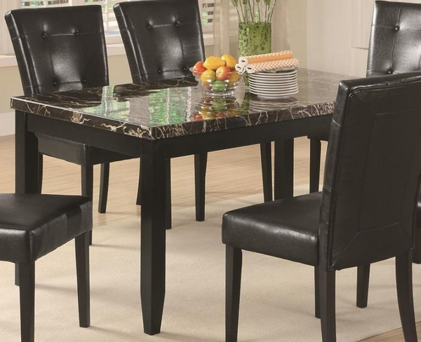 Dark Cappuccino Finish Dining Table With Black Faux Stone Top By Coaster Furn