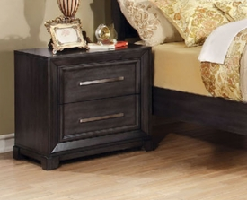 Dark Gray Finish 2 Drawer Nightstand w/ Power Outlet