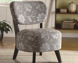 Dark / Light Floral Accent Chair with with Padded Seat