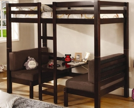 Dark Wood Finish Twin Over Twin Convertible Loft Bed