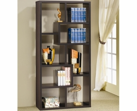 Deep Cappuccino Finish Asymmetrical Cube Bookcase