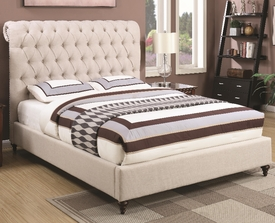 Devon Queen Upholstered Bed with Rolled Headboard and Button Tufting