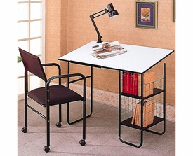 Drafting Desk with Chair and Lamp