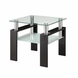 Black Base with Floating Glass Top End Table