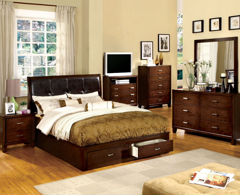 cherry 5 pc bedroom set with storage footboard furniture 4 less dallas