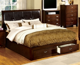 Enrico Cherry Finish Queen Bed with Storage Footboard