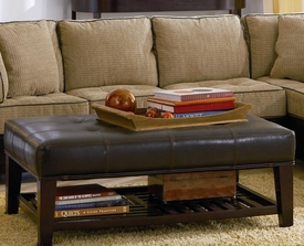 Faux Leather Tufted Ottoman with Storage Shelf