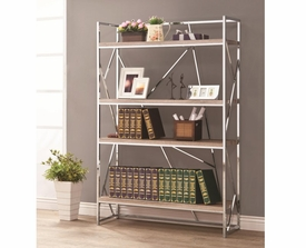 Flashy Chrome Bookshelf with Reclaimed Wood Looking Shelves
