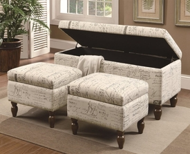 French Script Storage Ottoman Set